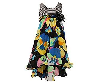 Bonnie Jean Big Girls' Striped to Chiffon Floral Hi Lo Dress