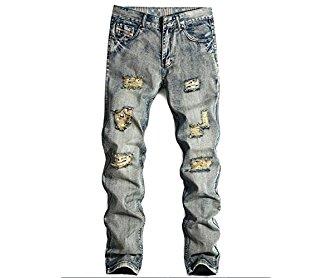 K3K Hot! New Men's Fashion Tight Ripped Holes Straight Retro Jeans
