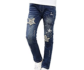 MFrannie Girl Ripped Star Spring Washed Casual Elastic Denim Jeans
