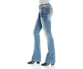 Miss Me Women's Lace Accent Mid Rise Boot Cut Denim Jean