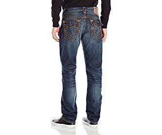 True Religion Men's Geno Slim Straight Super T with Flaps