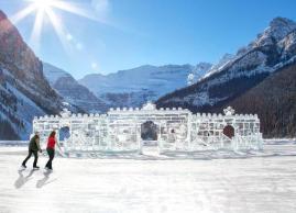 Ice castle on Lake Louise