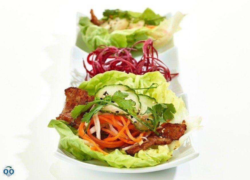 Ssambap:lettuce wraps with bbq pork