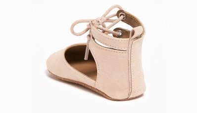 Sueded lace-up ballet flats for baby