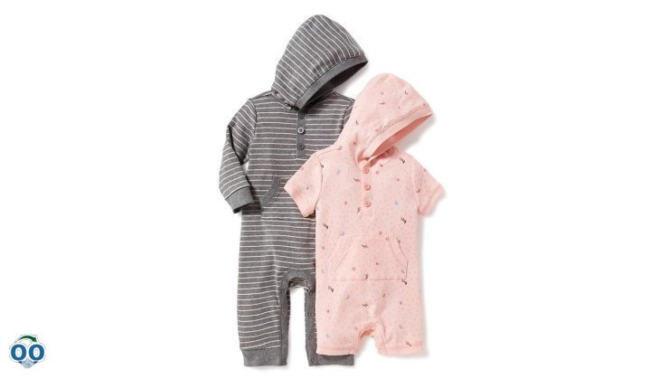 2-Pack hooded one-piece set for baby