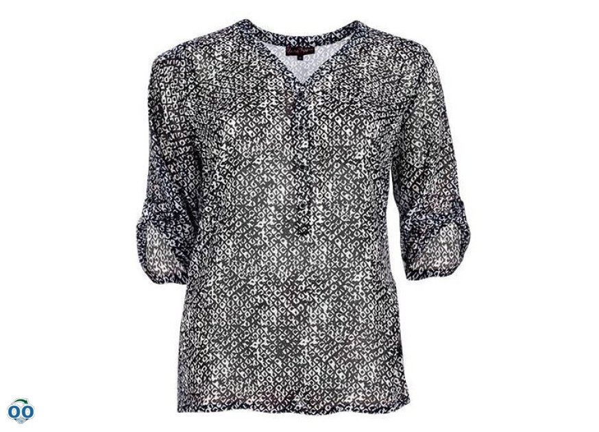 Tunic blouse in veil printed sleeves without collar with three-quarters