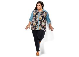 Tunic blouse in georgette printed with collar and sleeves in denim
