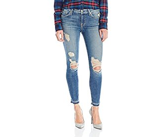 7 For All Mankind Womens Ankle Skinny Jean with Released Hem and Destroy