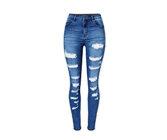 Angcoco Women's Slim Fit Ripped Holes Destroyed Skinny Jeans Pants