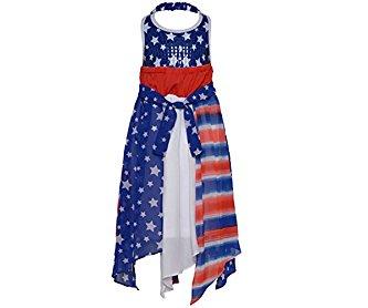 Bonnie Jean Big Girls Blue Red American Flag Inspired Style Halter Dress 7-16
