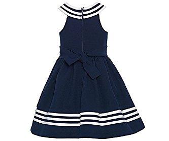 Bonnie Jean Little Girls Navy White Striped Bow Sailor Dress 4-6X