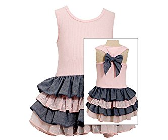 Bonnie Jean Little Girls' Pink Chambray Bow Back Tiered Dress