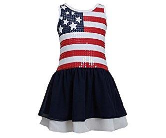 Bonnie Jean Little Girls' Sequin American Flag Patriotic Dress