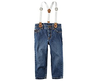 Carter's Boys' 5-Pocket Straight Jeans With Suspenders 4T