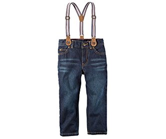 Carter's Boys' 5-Pocket Straight Jeans With Suspenders Red 2T