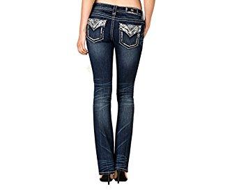 Miss Me Denim Jeans Womens Silver Sequin Slim Boot 26 Dark JP7749SB