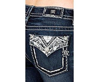 Miss Me Denim Jeans Womens Silver Sequin Slim Boot 27 Dark JP7749SB