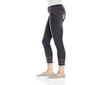 Miss Me Women's Ankle Embellished Black Denim Skinny