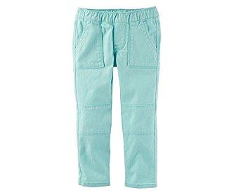 OshKosh Girls' Turquoise Twill Moto Jeggings (8)