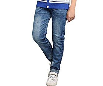 uxcell® Boys Elastic Waist Pockets Mock Fly Zipper Denim Pants Blue 12