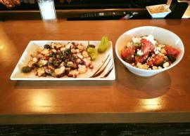 Grilled octopus and greek salad