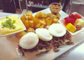 Who's hungry! - poached eggs on steak&cheese buns