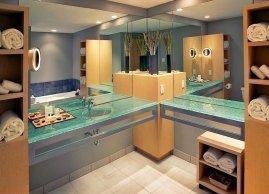 Gold bathroom, Inn at the Forks Hotel