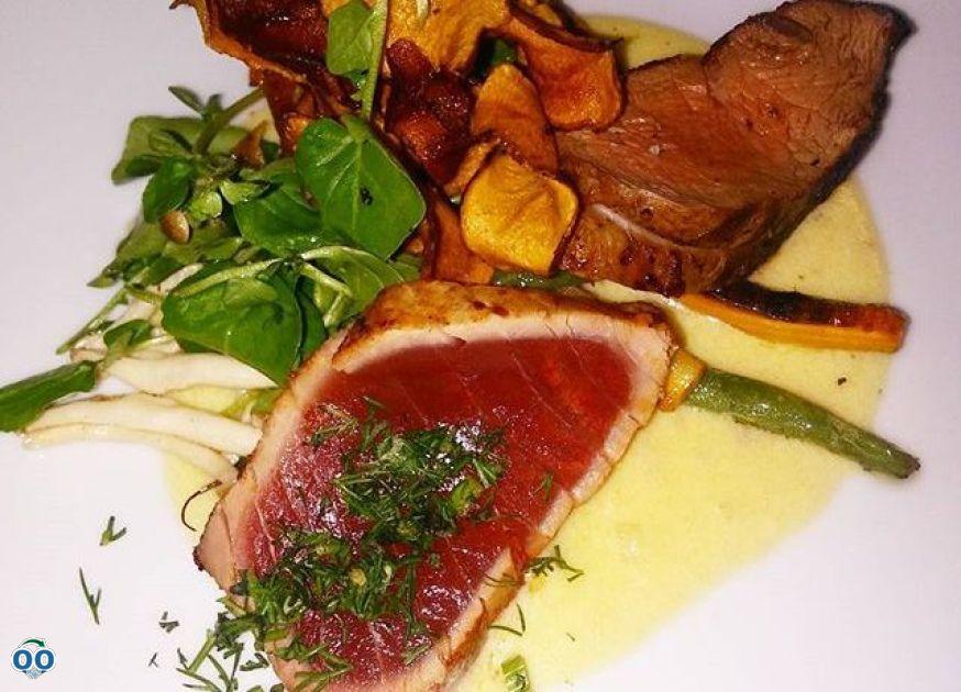 Duo filet mignon of veal of the Plaine, tataki of tuna in crust of fresh...