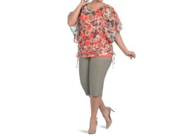 Capri in stretchy fabric together top printed with a straitjacket united
