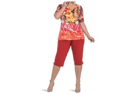 Top knitted printed capri in stretchy fabric stretchy bracelet in metal