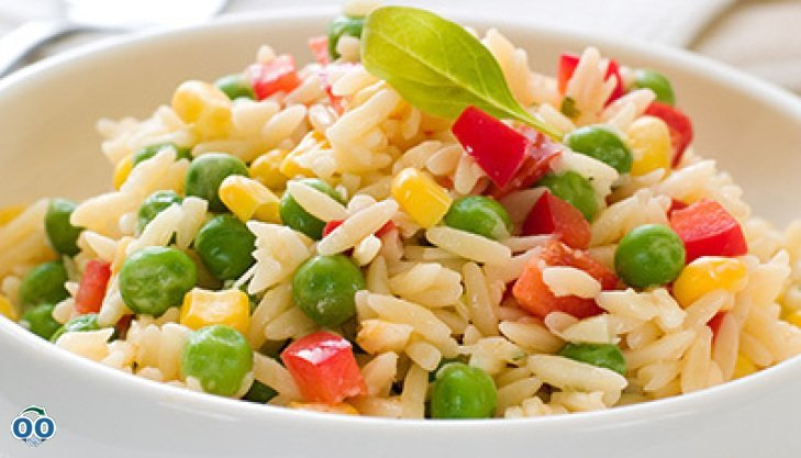 Basmati rice with green peas and red pepper